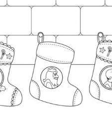 Calcetines de Navidad de los Reyes Magos: dibujo para colorear e imprimir