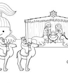 Belén de Navidad: dibujo para imprimir y colorear