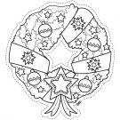 Corona de Navidad para recortar: dibujo para colorear e imprimir