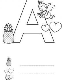 Letra A: dibujo para colorear e imprimir