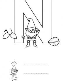 Letra N: dibujo para colorear e imprimir