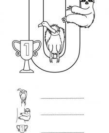 Letra U: dibujo para colorear e imprimir
