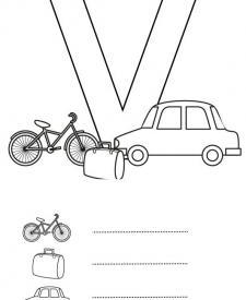 Letra V: dibujo para colorear e imprimir