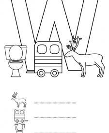 Letra W: dibujo para colorear e imprimir