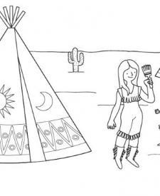 Indios pintando su tipi: dibujo para colorear e imprimir