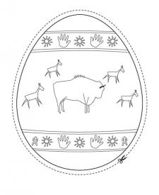 Huevo de Pascua cromañon: dibujo para colorear e imprimir