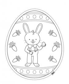 Huevo de Pascua con conejo de Pascua: dibujo para colorear y pintar