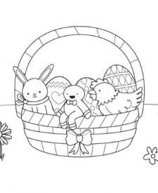 Intruso en cesta de Pascua: dibujo para colorear e imprimir