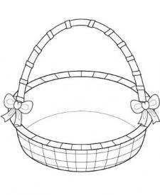 Cesta y huevos de Pascua: dibujo para colorear e imprimir