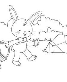 Conejo recogiendo huevos de Pascua: dibujo para colorear e imprimir