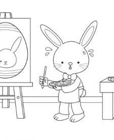 Conejo de Pascua pintor: dibujo para colorear e imprimir
