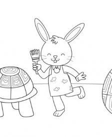 Tortuga de Pascua: dibujo para colorear e imprimir