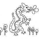 Un dragón: dibujo para colorear e imprimir