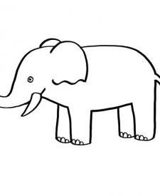 Un elefante: dibujo para colorear e imprimir