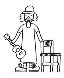 Payaso con guitarra: dibujo para colorear e imprimir