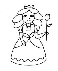 Princesa con flor: dibujo para colorear e imprimir