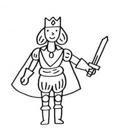 Príncipe con espada: dibujo para colorear e imprimir