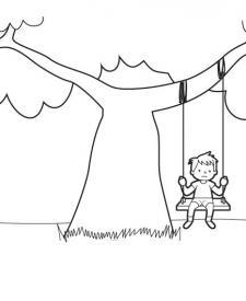 El columpio: dibujo para colorear e imprimir