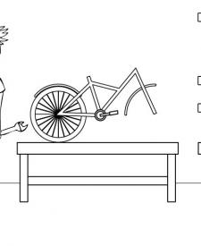 Bicicleta: dibujo para colorear e imprimir