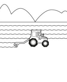 Tractor arando: dibujo para colorear e imprimir