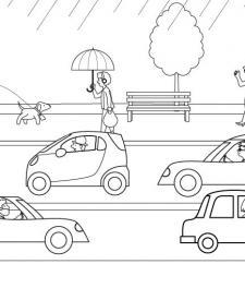 Lluvia sobre los coches: dibujo para colorear e impirmir