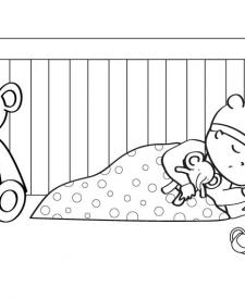 Bebé durmiendo: dibujo para colorear e imprimir