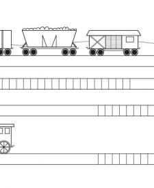 Tren con vagones: dibujo para colorear e imprimir