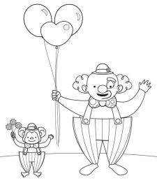Payaso y mono: dibujo para colorear e imprimir