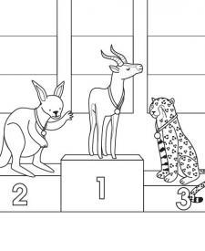 Olimpiada animal: dibujo para colorear e imprimir