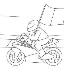 Motorista con bandera: dibujo para colorear e imprimir