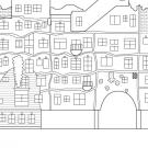 Casa Hundertwasserde: dibujo para colorear e imprimir