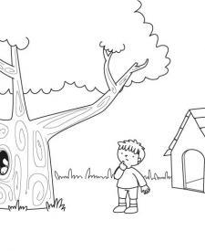 Cabaña en el árbol: dibujo para colorear e imprimir
