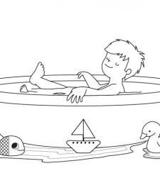Tom y la bañera: dibujo para colorear e imprimir