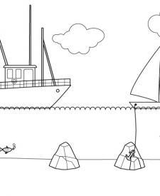 Barco pesquero: dibujo para colorear e imprimir