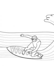 Surf: dibujo para colorear e imprimir