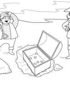 Tesoro en un cofre: dibujo para colorear e imprimir