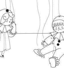 Marionetas: dibujo para colorear e imprimir