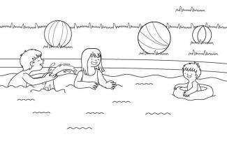 Niños en piscina: dibujo para colorear e imprimir