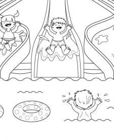Toboganes acuáticos: dibujo para colorear e imprimir