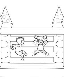 Castillo hinchable: dibujo para colorear e imprimir