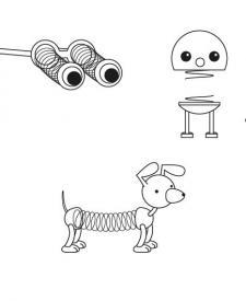 Juguetes con muelles: dibujo para colorear e imprimir