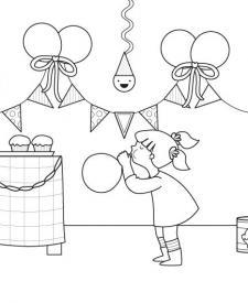 Fiesta de cumpleaños: dibujo para colorear e imprimir