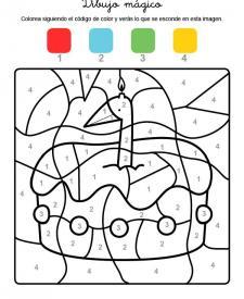 Dibujo mágico cumpleaños 1: dibujo para colorear e imprimir