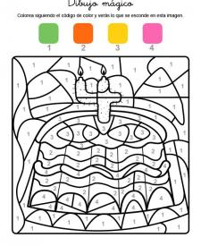 Dibujo mágico cumpleaños 4: dibujo para colorear e imprimir