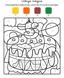 Dibujo mágico cumpleaños 5: dibujo para colorear e imprimir