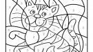Dibujo mágico de un gato tigre: dibujo para colorear e imprimir