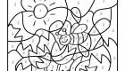 Dibujo mágico de una abeja y flores: dibujo para colorear e imprimir