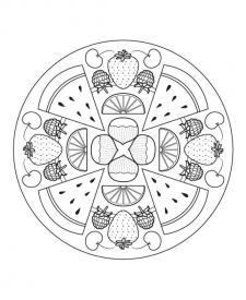 Mandala de frutas: dibujo para colorear e imprimir