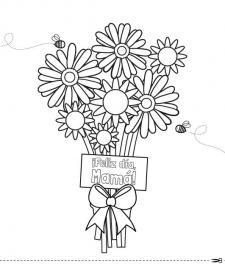 Flores para mamá: dibujo para colorear e imprimir