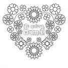 Flores y corazones: dibujo para colorear e imprimir